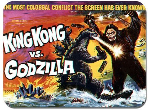 King Kong vs Godzilla Mouse Mat. Classic Monster Movie Mouse Pad